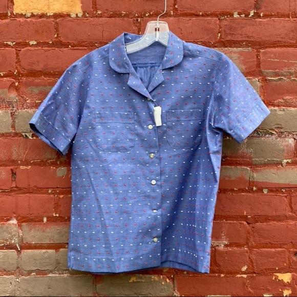 Vintage blue shirt sleeve button up! cute texture